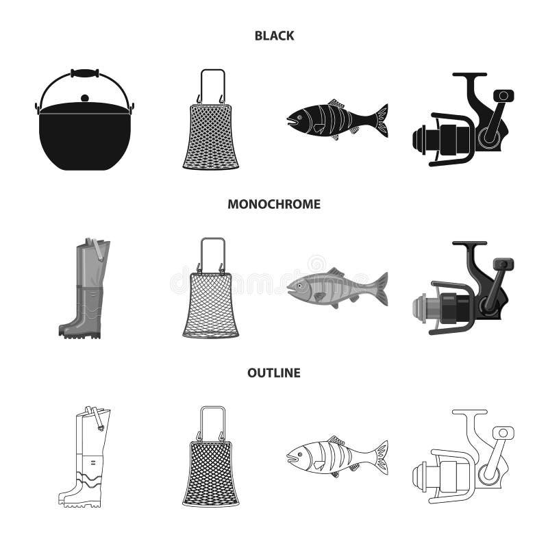 Illustration de vecteur des poissons et de l'ic?ne de p?che Collection d'ic?ne de vecteur de poissons et d'?quipement pour des ac illustration libre de droits