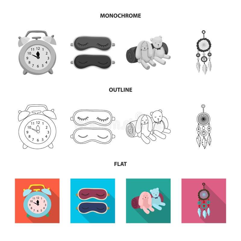 Illustration de vecteur des rêves et du logo de nuit Ensemble de rêves et de symbole boursier de chambre à coucher pour le Web illustration de vecteur