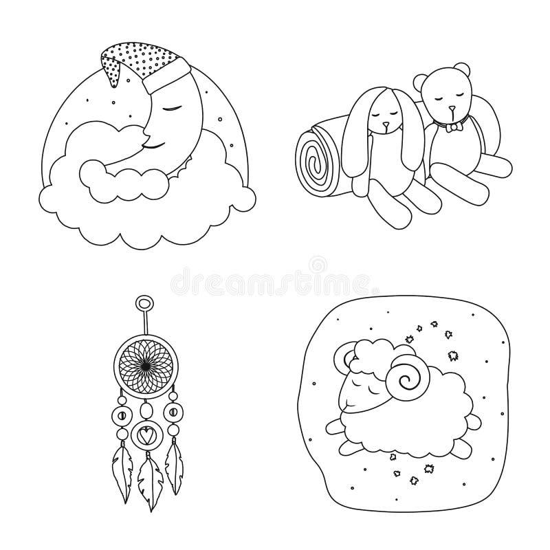 Illustration de vecteur des rêves et de l'icône de nuit Collection des rêves et de l'illustration courante de vecteur de chambre  illustration de vecteur