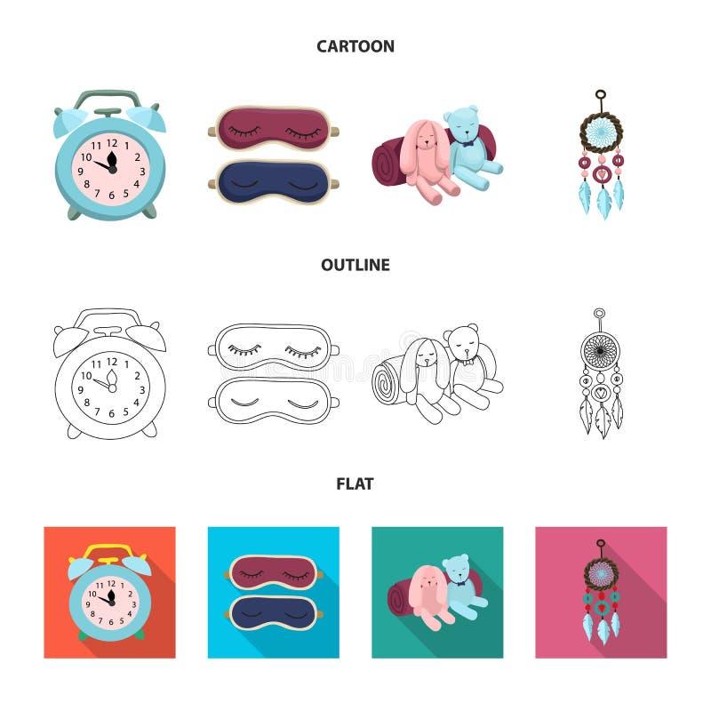 Illustration de vecteur des rêves et de l'icône de nuit Ensemble de rêves et d'illustration courante de vecteur de chambre à couc illustration libre de droits
