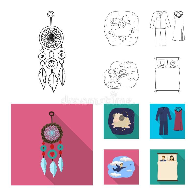 Illustration de vecteur des rêves et de l'icône de nuit Ensemble de rêves et de symbole boursier de chambre à coucher pour le Web illustration stock