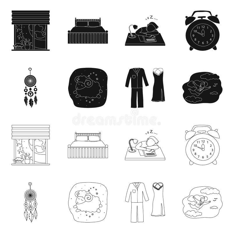 Illustration de vecteur des r?ves et du symbole de nuit Ensemble de r?ves et d'illustration courante de vecteur de chambre ? couc illustration de vecteur