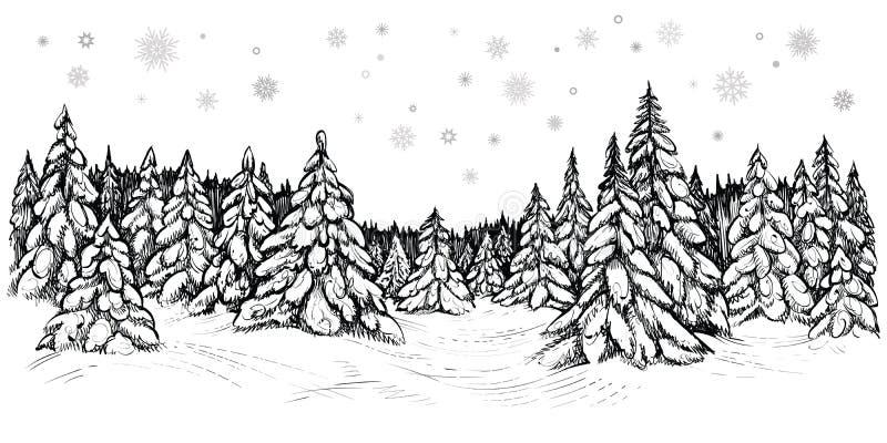 Illustration de vecteur des sapins neigeux Forêt d'hiver couverte de neige, croquis tiré par la main illustration de vecteur