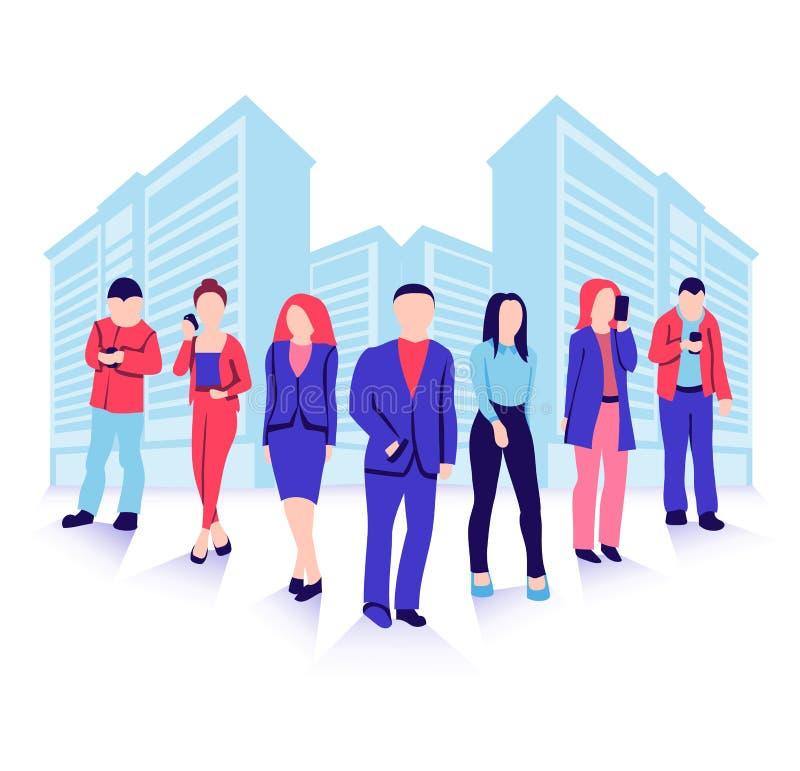 Illustration de vecteur des silhouettes d'hommes d'affaires au-dessus des bâtiments modernes de ville illustration libre de droits