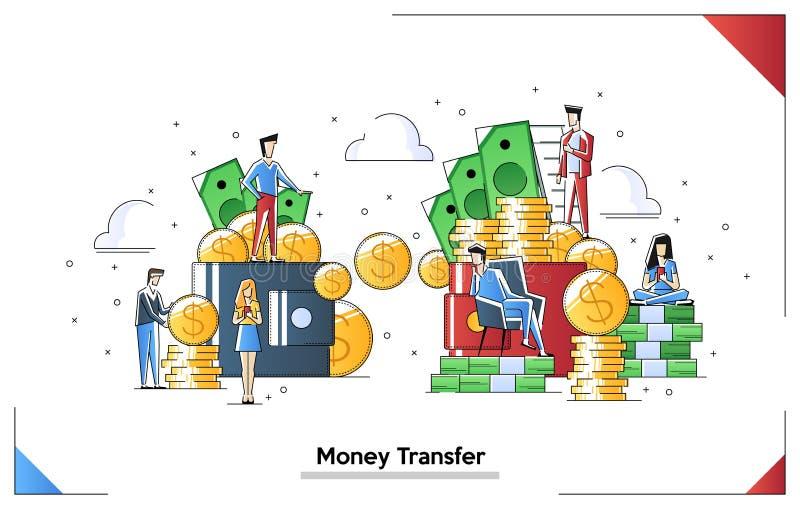 Illustration de vecteur des transactions financi?res, transfert d'argent envoi de l'argent du portefeuille dans le portefeuille O illustration de vecteur