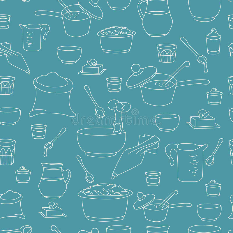 Illustration de vecteur des ustensiles de cuisine comme modèle sans couture illustration de vecteur