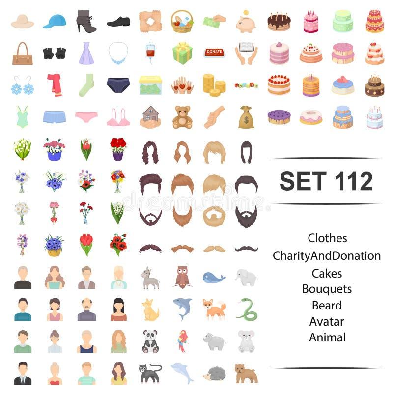 Illustration de vecteur des vêtements, charité, donation, gâteaux, ensemble animal d'icône d'avatar de barbe de bouguets illustration de vecteur