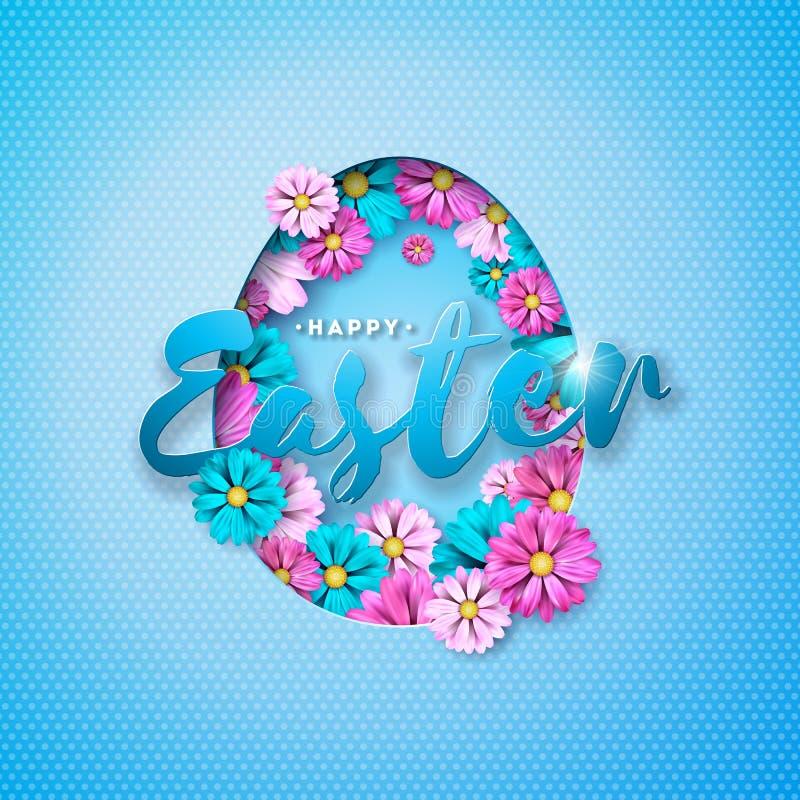 Illustration de vecteur des vacances heureuses de Pâques avec la fleur colorée et du symbole de coupure de papier d'oeufs sur le  illustration de vecteur