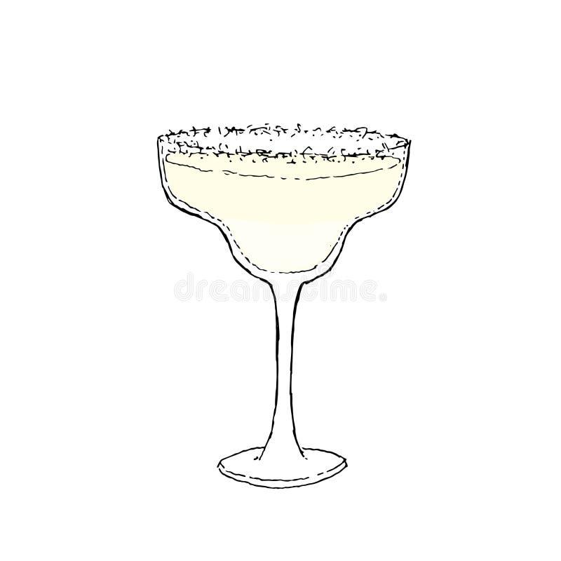 Illustration de vecteur de dessin de Margarita Cocktail Color Digital Verre sur le fond d'isolement blanc illustration stock