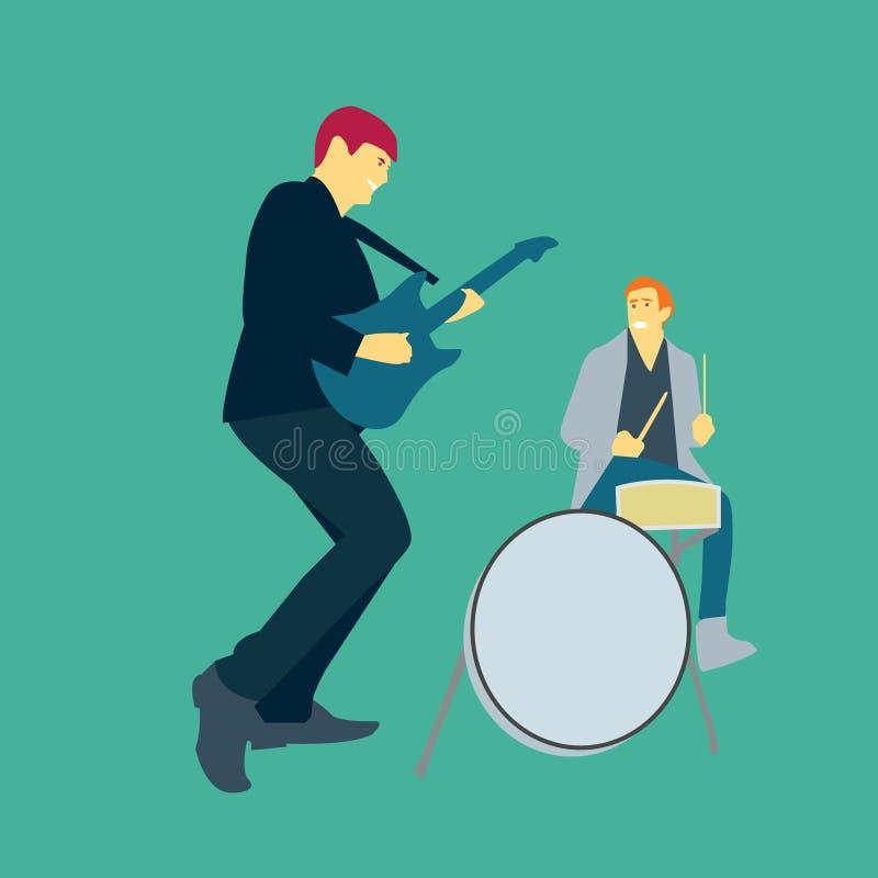 Illustration de vecteur de deux hommes jouant la musique avec des guitares et des tambours illustration libre de droits