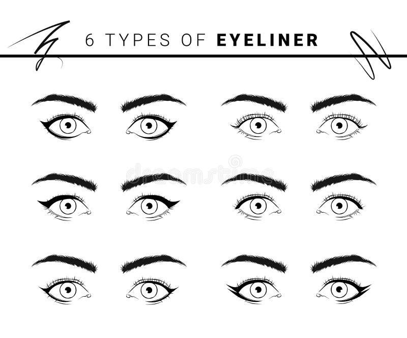 Illustration de vecteur de divers types et styles d'eye-liner sur le fond blanc illustration de vecteur
