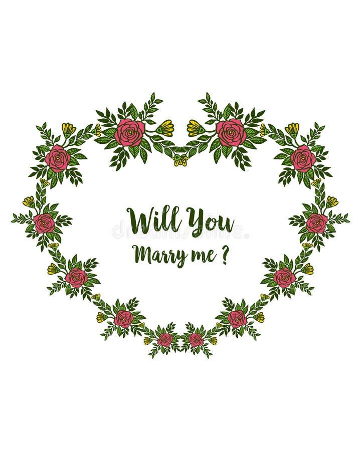 Illustration de vecteur diverse des fleurs roses de cadres de fleur pour la banni?re vous m'?pouserez illustration libre de droits