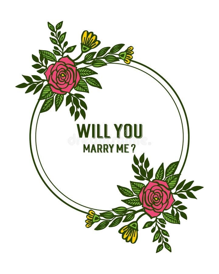 Illustration de vecteur diverse des fleurs roses de cadres de fleur pour la banni?re vous m'?pouserez illustration stock