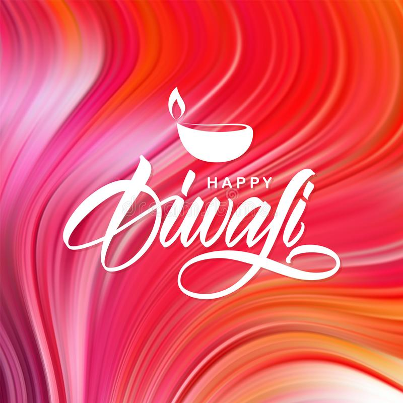 Illustration de vecteur : Diwali heureux Carte de voeux avec le lettrage manuscrit sur le fond liquide abstrait illustration stock