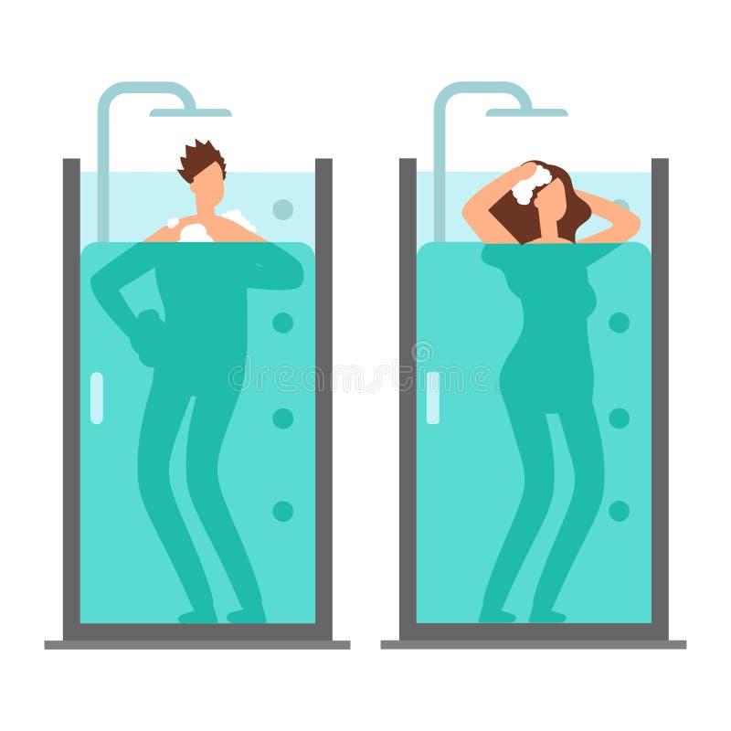 Illustration de vecteur de douche de prise d'homme et de femme illustration stock