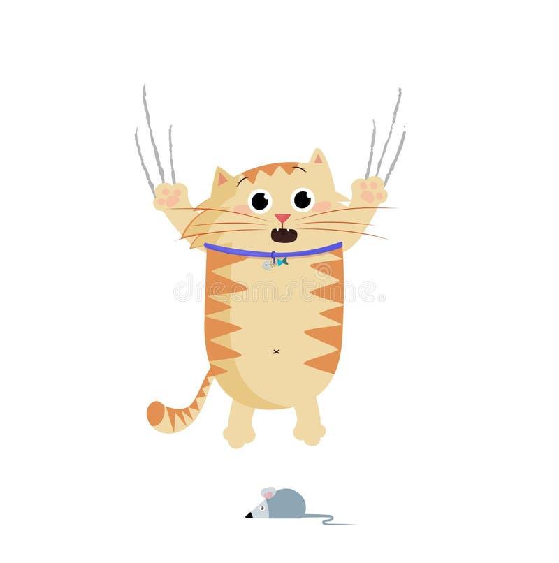 Illustration de vecteur du chat mignon de gingembre de bande dessinée effrayé par la souris illustration stock