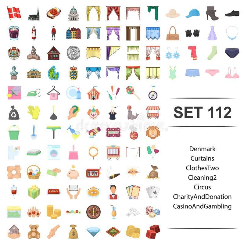 Illustration de vecteur du Danemark, rideau, vêtements, nettoyage, cirque, ensemble de jeu d'icône de casino de donation de chari illustration de vecteur