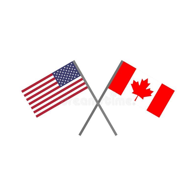 Illustration de vecteur du drapeau américain et du drapeau canadien se croisant illustration de vecteur