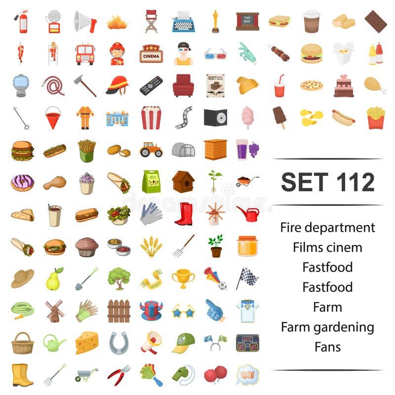 Illustration de vecteur du feu, département, film, cinéma, ensemble de jardinage d'icône de fan de ferme d'aliments de préparatio illustration de vecteur
