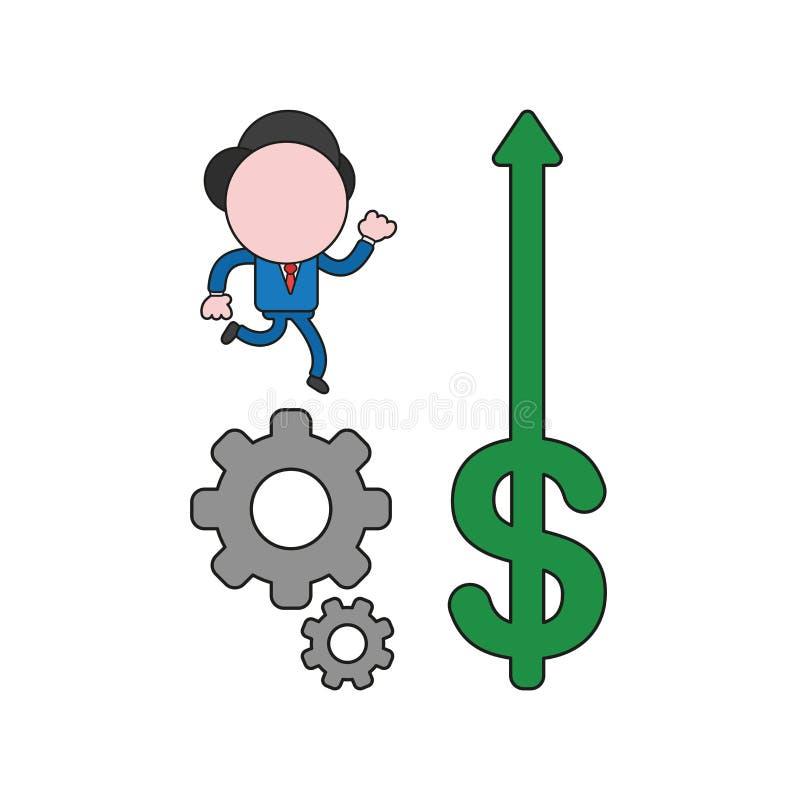 Illustration de vecteur du fonctionnement de caractère d'homme d'affaires sur les vitesses et la flèche du dollar se relevant Cou illustration stock