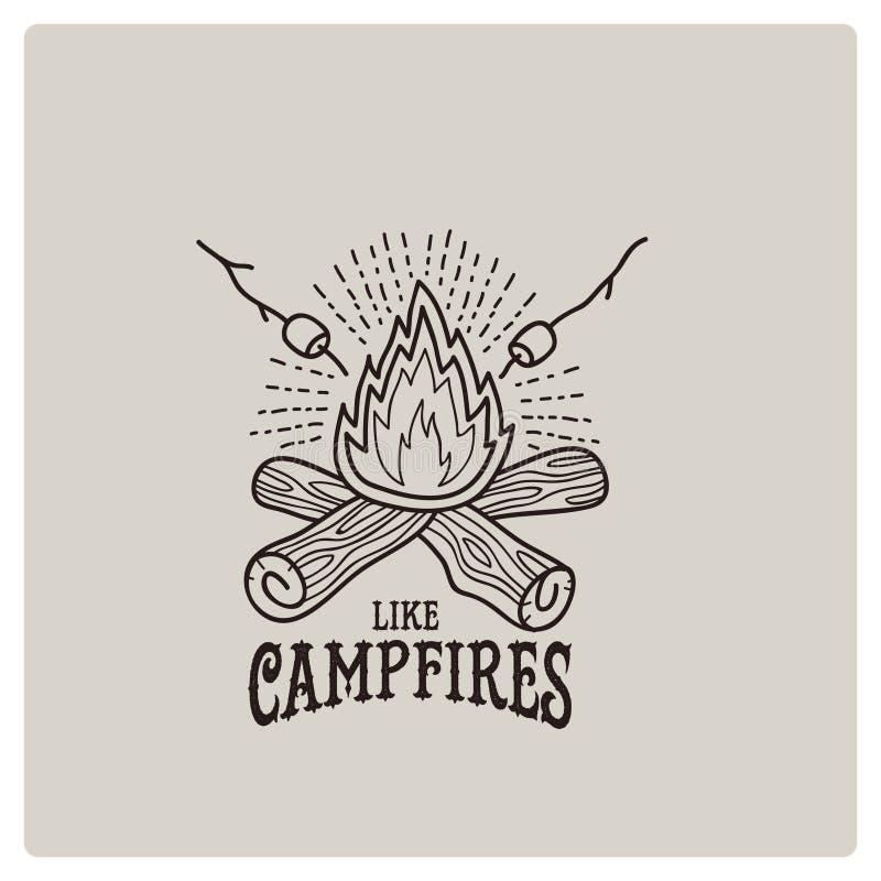 Illustration de vecteur du logo de feu de camp image libre de droits