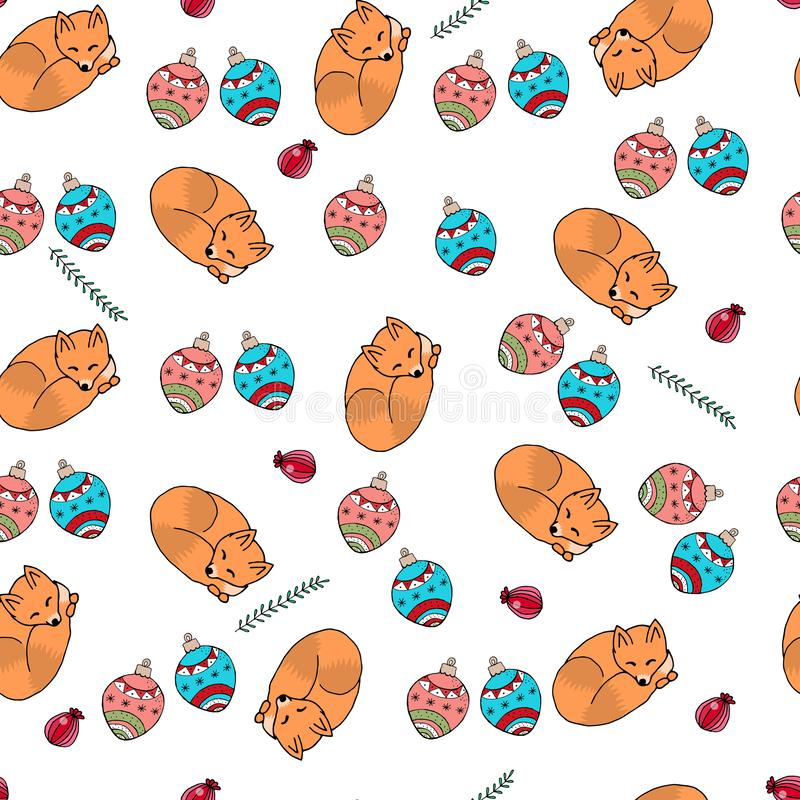 Illustration de vecteur du modèle de Noël des branches colorées illustration libre de droits