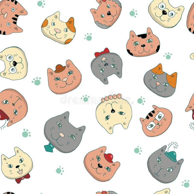 Illustration de vecteur du museau des chats différents Pour la décoration du papier peint, cadeaux, cartes, tissus, textiles, pap illustration libre de droits