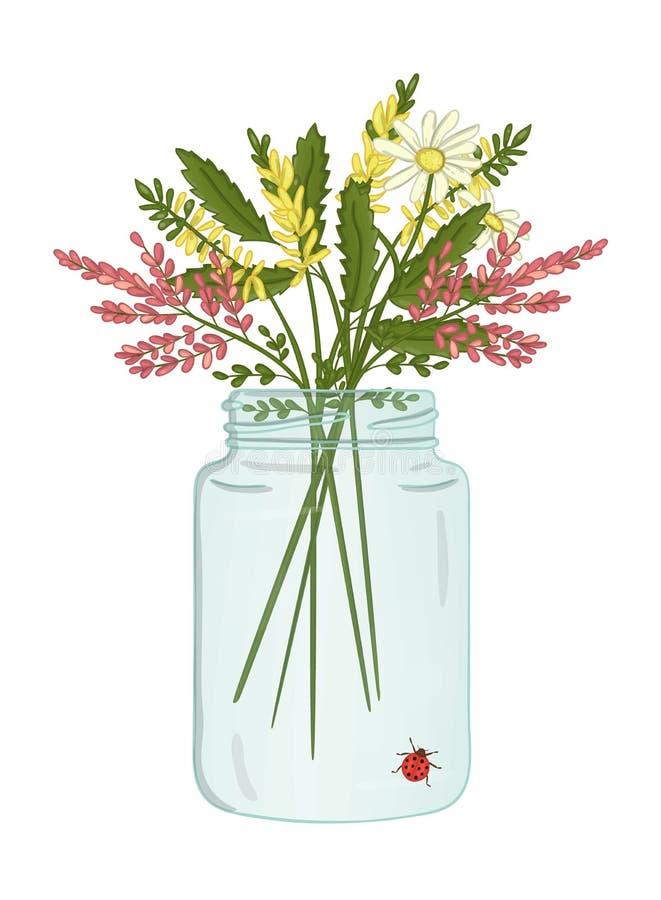 Illustration de vecteur du pot en verre avec le bouquet des fleurs sauvages illustration stock