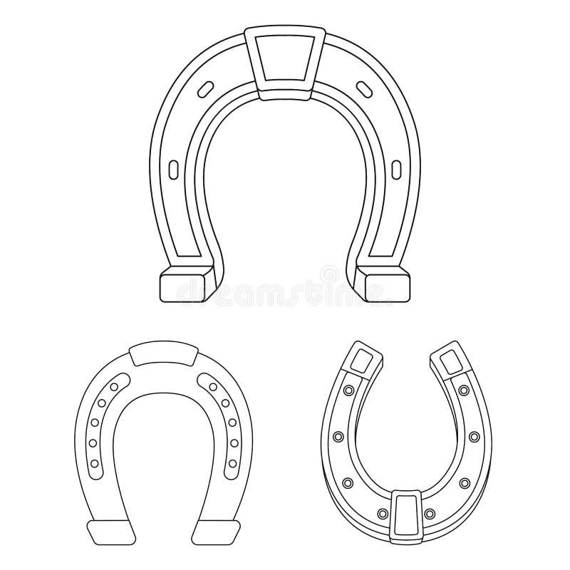 Illustration de vecteur du signe en fer à cheval et occidental Placez de l'icône de vecteur de fer à cheval et de forgeron pour d illustration de vecteur