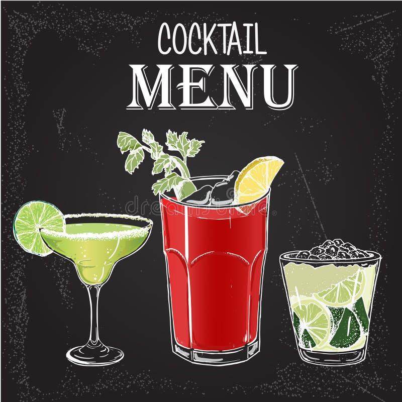 Illustration de vecteur du style tiré par la main 1 de cocktails alcooliques illustration stock