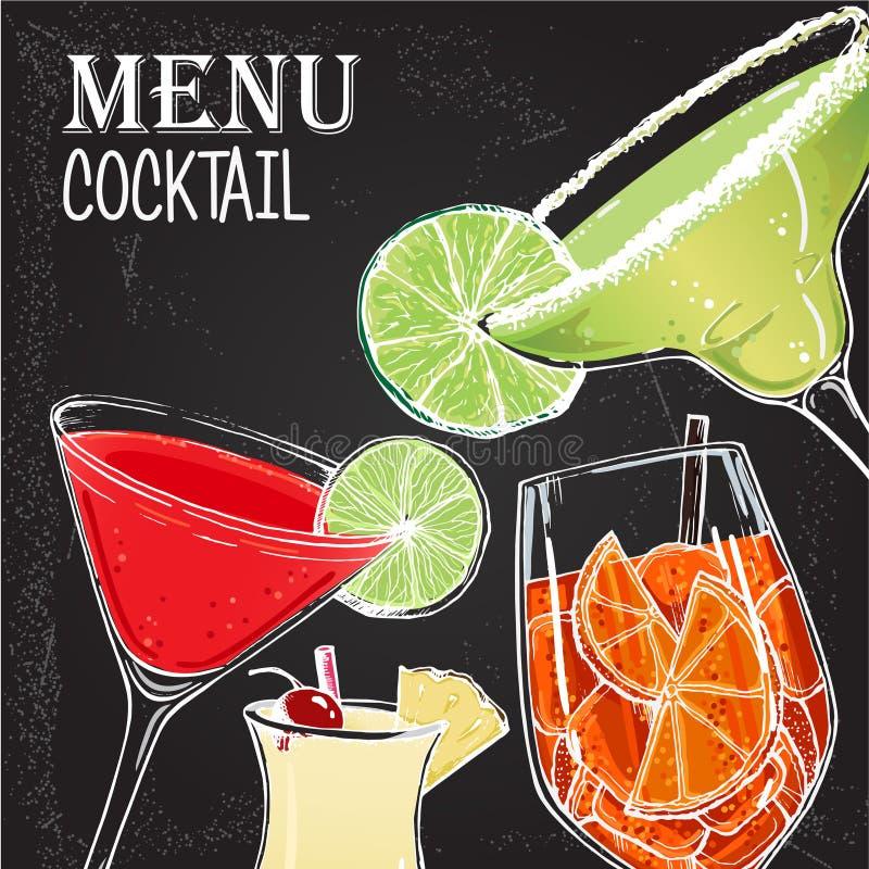 Illustration de vecteur du style tiré par la main 4 de cocktails alcooliques illustration de vecteur