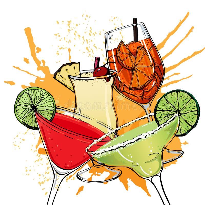 Illustration de vecteur du style tiré par la main 14 de cocktails alcooliques illustration stock