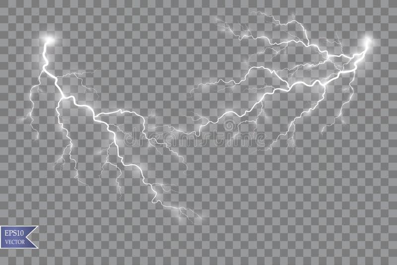 Illustration de vecteur Effet de la lumière transparent de foudre électrique de boule Énergie magique de plasma illustration de vecteur