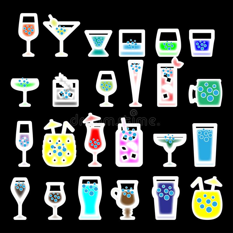 Illustration de vecteur en verre de cocktails illustration stock