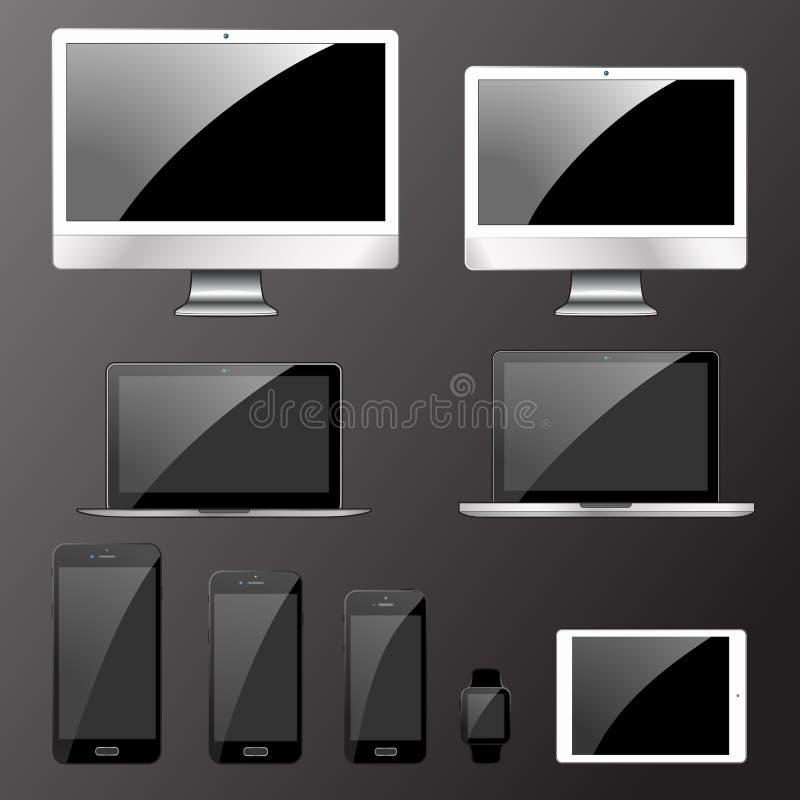 Illustration de vecteur, ensemble d'appareils électroniques modernes illustration de vecteur