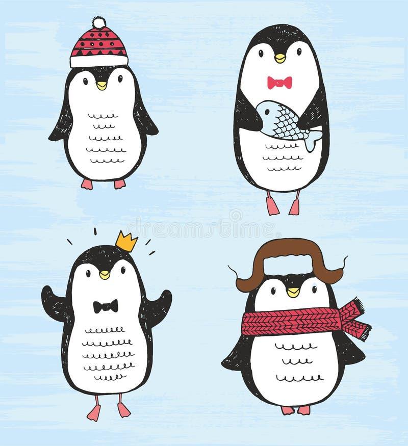 Illustration de vecteur Ensemble de quatre pingouins tirés par la main de croquis différent mignon illustration stock