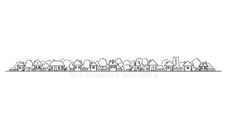 Illustration de vecteur et dessin artistiques des bâtiments et des jardins classiques de village sur l'horizon, longue conception illustration libre de droits