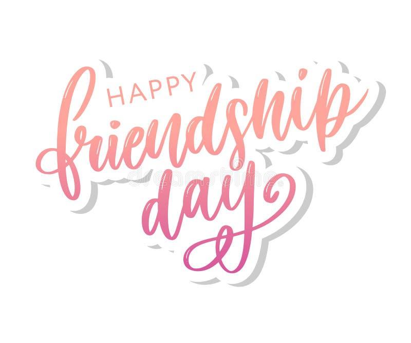 Illustration de vecteur de félicitation heureuse tirée par la main de jour d'amitié dans le style de mode avec marquer avec des l illustration de vecteur