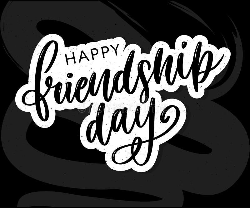 Illustration de vecteur de félicitation heureuse tirée par la main de jour d'amitié dans le style de mode avec marquer avec des l illustration libre de droits