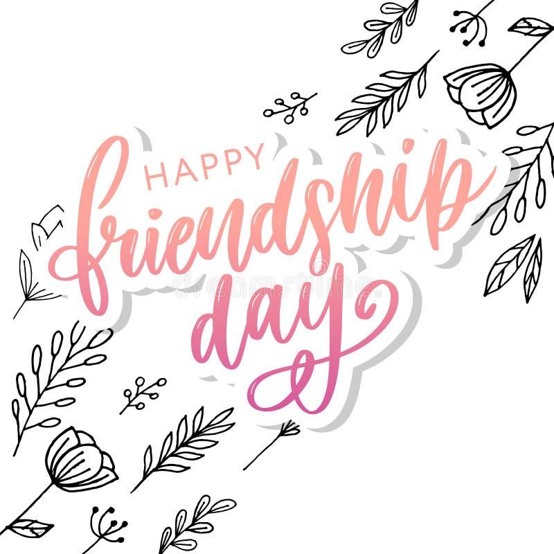 Illustration de vecteur de félicitation heureuse tirée par la main de jour d'amitié dans le style de mode avec marquer avec des l illustration stock