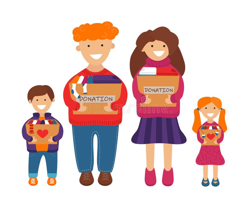 Illustration de vecteur de famille avec des boîtes de donation illustration de vecteur