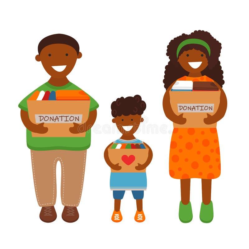 Illustration de vecteur de famille avec des bo?tes de donation illustration libre de droits