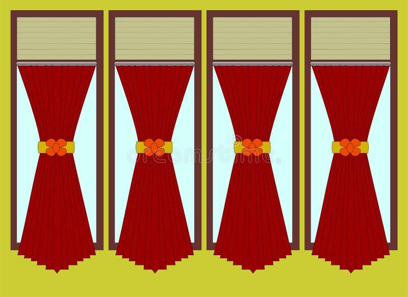Illustration de vecteur de fenêtre et de rideaux illustration stock