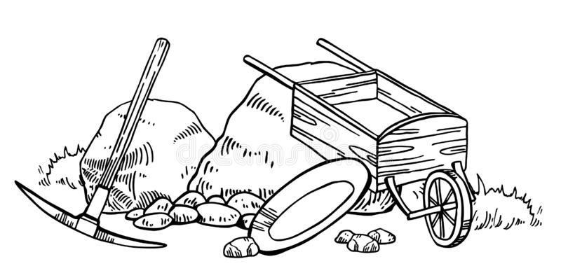 Illustration de vecteur de fi?vre de l'or de la Californie Graphique tir? par la main d'ensemble de cru avec la s?lection, la cas illustration stock
