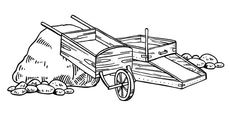 Illustration de vecteur de fi?vre de l'or de la Californie Graphique tir? par la main d'ensemble de cru avec la bo?te et la broue illustration stock
