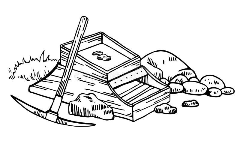 Illustration de vecteur de fi?vre de l'or de la Californie Graphique tir? par la main d'ensemble de cru avec la bo?te, les pierre illustration libre de droits