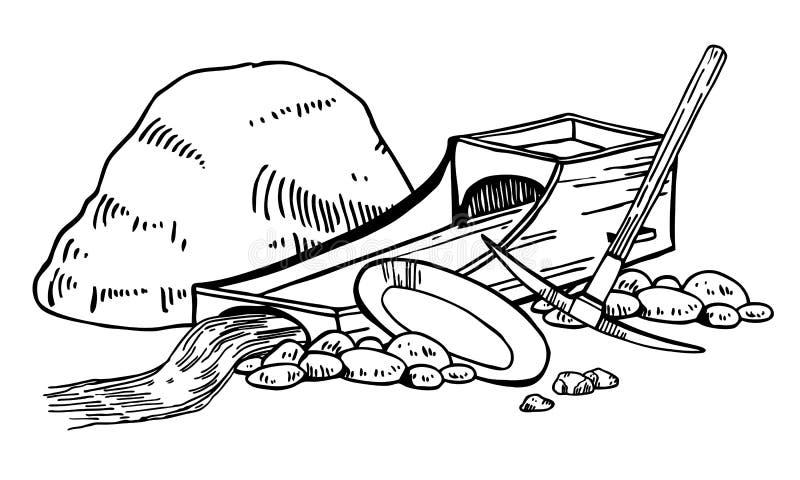 Illustration de vecteur de fi?vre de l'or de la Californie Graphique tiré par la main d'ensemble de cru avec la boîte, la sélecti illustration stock