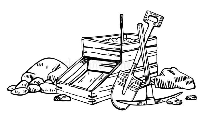 Illustration de vecteur de fi?vre de l'or de la Californie Graphique tir? par la main d'ensemble de cru avec la bo?te, la s?lecti illustration de vecteur