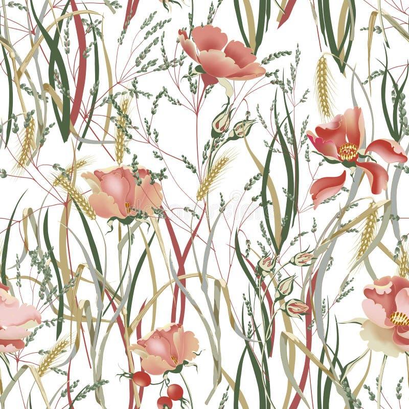 Illustration de vecteur de fleur avec des usines Style de provance de vintage illustration libre de droits