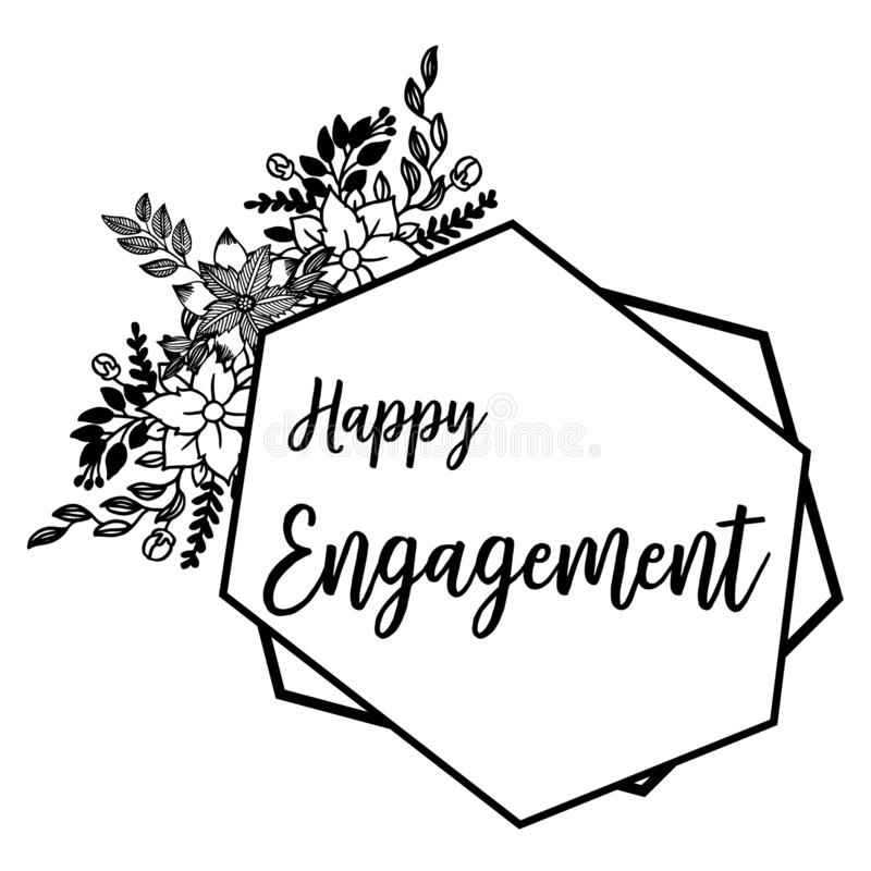 Illustration de vecteur fleurie de l'engagement heureux avec le cadre de fleur de dessin illustration libre de droits